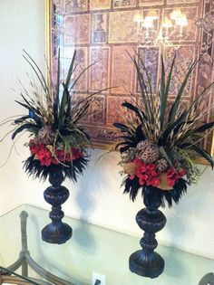 Pair of Tall Red Hydrangea Faux Floral Arrangements - Silk Floral Mantel Arrangements by Greatwood Floral Designs.