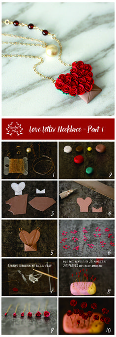 Free step-by-step polymer clay rose love letter necklace tutorial from crystalandclay.com. Click the image to read the full tutorial article.