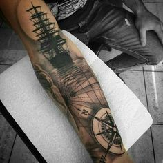 Nautical Tattoo Designs And Their Meanings Sea Tattoo Sleeve, Ship Tattoo Sleeves, Nautical Tattoo Sleeve, Best Sleeve Tattoos, Sleeve Tattoos For Women, Tattoo Sleeve Designs, Arm Tattoos For Guys, Tattoo Designs Men, Nautical Tattoos