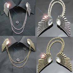Punk-Vintage-Brooch-Pin-Fashion-Women-Crystal-Collar-Clip-Wings-Party-Necklace