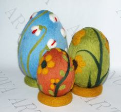 Big Lovely Needle Felted  Easter Eggs with Decorated Spring Flowers.