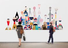 love the illustration type. know it's random but. Alexander Girard, Collages, School Murals, Ideas Geniales, Branding, Environmental Graphics, Wooden Dolls, Office Art, Wall Design