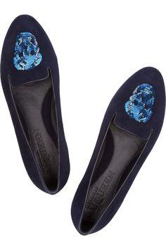 Alexander McQueen Sequin skull-embellished suede slippers. Nice color.