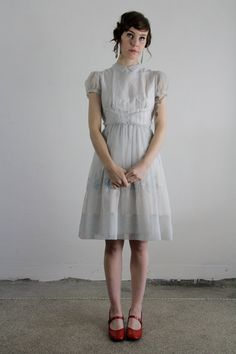 Vintage 50s Dress  Ice Blue  Girls Gown  Organza  Mid by VeraVague