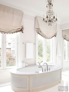 Window treatments and a crystal chandelier add elegance and French country style to this master bath. Better Homes and Gardens French Country Living Room, French Country Bedrooms, French Country Style, Country Bathrooms, French Cottage, French Country Bathroom Ideas, Rustic French, Country Kitchens, Shabby Cottage