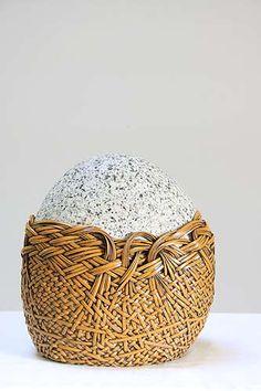 deloss webber, fallen wheat--second generation rattan weaver based in seattle. Bamboo Weaving, Weaving Art, Basket Weaving, Rattan, Wicker, Art Sculpture, Stone Wrapping, Rock Crafts, Art Object