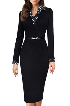 Women's Vintage Black Polka Dot Collared Business Party Pencil Dress