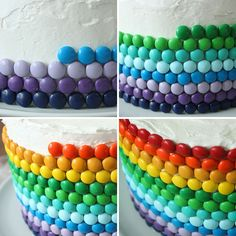 Decorate a cake with colorful M&M's to make a St. Patrick's Day Double Rainbow Cake using this recipe.