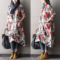 Women Long winter thick cotton padded coat dress - Buykud