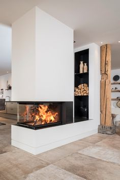 Fireplaces Panorama by Brunner - Kamin Library Fireplace, Home Fireplace, Fireplace Design, Arch Interior, Interior Exterior, Interior Design, Indoor Gas Fireplace, Lake House Plans, Dream Apartment