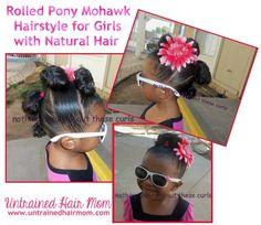 Rolled Pony Mohawk Hairstyle Girls