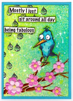 """""""Bird on Branches - Karen R"""" Tim Holtz Crazy Birds Flowing Branches & Raindrops: Designs By Ryn"""
