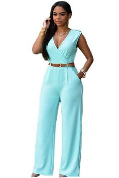 b3d79540d319 Zkess Jumpsuit Long Pants Women Rompers Sleeveless Xxl V-Neck Belt Solid  Sexy Night Club Elegant Slim Jumpsuits Overalls