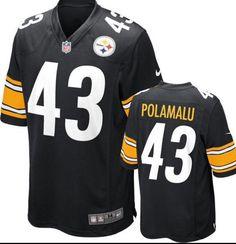 c2e50f32d Nike on Field NFL Pittsburgh Steelers Youth Kids Jersey Troy Polamalu 43 XL