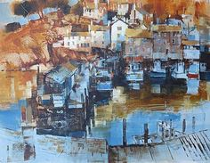 Harbour Vista Polperro by British Contemporary Artist Chris FORSEY Seaside Art, British Seaside, Seaside Towns, Beautiful Paintings, Watercolor Paintings, Watercolours, Colorful Artwork, A Level Art
