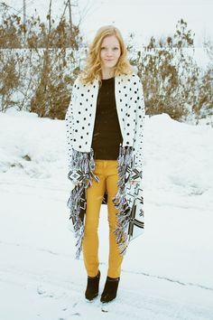 Cross Print Sweater + Mustard Jeans