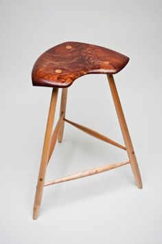 ♥ Carved Walnut and Maple Stool
