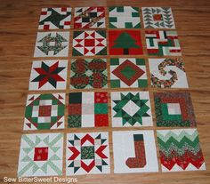 Beautiful Christmas Sampler Quilt with tutorials for each block