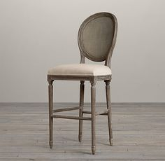 1940s French Upholstered Barrelback Barstool Bar