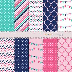 Navy Pink Aqua Digital Paper Pack by RachellesPrintables on Etsy, $4.00