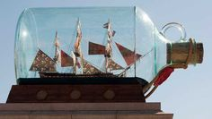 Yinka Shonibare, MBE's sculpture Nelson's Ship in a Bottle.