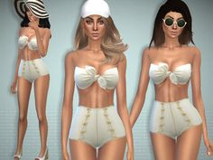 A cute white swimsuit. Found in TSR Category 'Sims 4 Female Swimwear'
