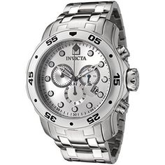 Invicta Mens 0071 Pro Diver Collection Chronograph Stainless Steel Watch * Click image to review more details.