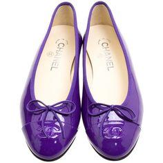 Designer Clothes, Shoes & Bags for Women Purple Ballet Shoes, Purple Flats, Ballerina Pumps, Ballet Flats, Cap Toe Shoes, Flat Shoes, Patent Leather, Leather Flats, Chanel Shoes