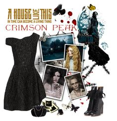 """Indulge Your Dark Side with Crimson Peak : Contest Entry"" by rachel ❤ liked on Polyvore featuring Timorous Beasties, Simone Rocha, Chloé, Tarina Tarantino and vintage"