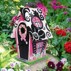 Elegant Damask Decorative Hand Painted Birdhouse