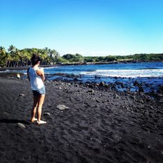 Punalu'u Beach, commonly known as The Black Sand Beach on The Big Island. Beautiful place, definitely worth going to. It's on the way to the active volcano, so it's great to make a day trip out of it and do both on the same day. That's what we did!