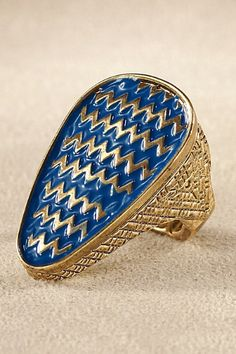 Aztec Stretch Ring - Stretch Fit Ring, Enamel Ring, Tribal Design Ring