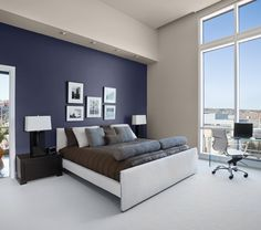 For entire space: Benjamin Moore, Bottlenose Dolphin, accent wall Legend of Poseidon