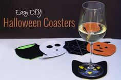 Tutorial: No-sew felt Halloween coasters #sewing #diy