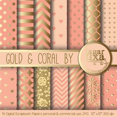 Gold Coral Salmon Peach Digital Paper Background by LagartixaShop, $4.00