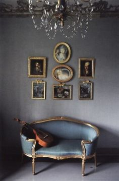 Love the delicate French settee in subtle Napoleon blue...