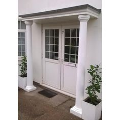 Our Barcelona Fluted Tapered GRP Column / decorative pillar is a popular choice with customers, together with our Delta door canopy or with your existing canopy the bracelona Front Door Canopy With Pillars, Door Entrance Canopy, Porch Pillars, Porch Canopy, Entry Doors, Fiberglass Columns, Porch Kits, Roman Columns, Roof Colors