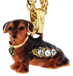 Enamel Necklace For Jewelry Box  with Yellow Chain, Dachshund Figurine 3907N
