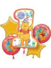 Foil Winnie the Pooh 1st Birthday Balloon Bouquet- Party City
