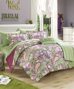 Look at this #zulilyfind! Green Paisley & Polka Dot Reversible Comforter Set by Chic Home Design #zulilyfinds