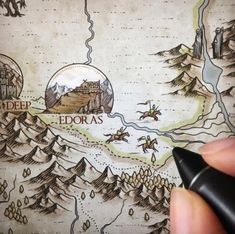 Dale, Smaug, another tiny army & some other joyful details ^^' 🕷 - Fantasy World, Fantasy Art, Fantasy Map Making, Middle Earth Map, J. R. R. Tolkien, Red Day, Map Design, Map Art, Lord Of The Rings