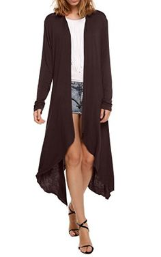 Meaneor Women's Long Sleeve Waterfall Asymmetric Drape Open Long Maxi Cardigan, XX-Large, Dark Brown  Special Offer: $19.99  200 Reviews Our Model Information: Height 175cm, Bust 85, Waist 62, Hip 89cm 1cm=0.39inch Measurements: Please check your measurements to make sure the...