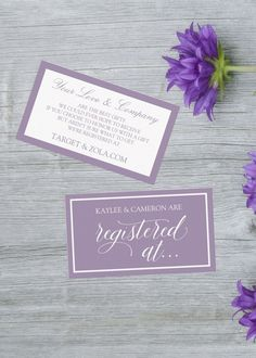 Let your wedding guest know where you're registered with these Light Purple Lavender Elegant Style Registry Enclosure Cards. A modern design features handwritten typography in whaite and the same color rectangular border over Lavender background. This Registry Enclosure Card suitable for bridal showers, hen parties, couples showers or engagement parties. It is part of a collection of wedding stationery that you can be edit and personalized.