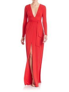 HALSTON HERITAGE Jersey Tie-Waist Gown. #halstonheritage #cloth #gown