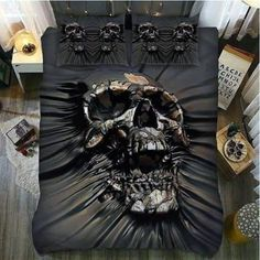 Skull decorate for your bedroom. Check our new sugar skull and skull bedding design now. Skull Bedroom, Gothic Bedroom, Bedroom Decor, Bohemian Bedrooms, Master Bedroom, Skull Furniture, Gothic Furniture, Goth Home Decor, Gypsy Decor