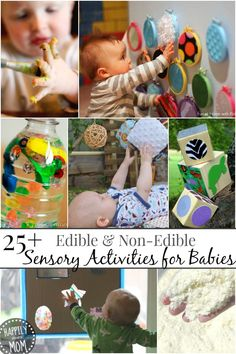 "Simple activities for little ones who love to mouth what they play with and some ""just to touch"" activities for when they are older ~ Gotta pin this for a rainy day!"