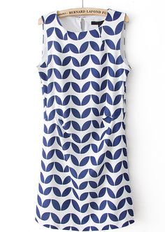 Blue White Off the Shoulder Zigzag Print Dress - Sheinside.com