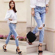 Stylish Women Casual Loose Knee Hole Ripped Boyfriend Jeans Washed Denim Pants