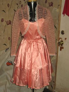 vintage peach satin party tier dress with by Linsvintageboutique, $35.50