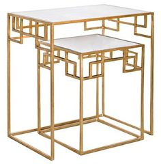 Fanning Hollywood Regency Gold Antique Mirror Nesting Side Tables - Set of 2